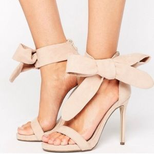 Missguided nude suede effect bow heels